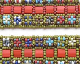 Pattern for Herb Garden Cuff, Seed Beading Tutorial, Right Angle Weave, Bead Bracelet Pattern, Seed Beadweaving, Beginners