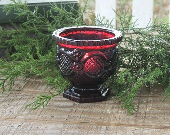 Avon Cape Cod Collection Votive Candle Holder, Ruby Glass, Collectible Candle Holder, Dark Red