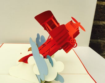 Pop Up Plane, pop up cards, Pop Up Red Baron, Pop Up Vintage Plane, Pop Up Bi-plane, plane