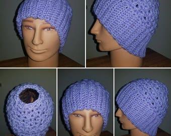Purple Messy Bun Hat