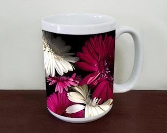 Gerber Daisies Floral Coffee Mug, Fine Art Photo Mug, Gerbera Daisy Flower, Tea Mug, 15 oz and 11 oz, garden, flowers, tea mug, soup mug