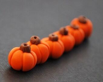 6 Polymer Clay Pumpkin Beads