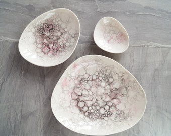 PEBBLE porcelain bowls, pink and grey bubbles, ceramic bowls, candle bowl, jewellery bowl, serving bowl, bathroom accessory modern stoneware