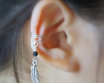 26)Non Pierced Silver Feather Ear Cuff With Bead