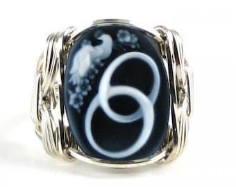 Eternal Love Agate Cameo Ring Sterling Silver Custom Jewelry