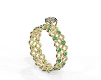 14K Gold Eternity Bridal Rings Set with Diamond and Emeralds | Handmade 14k gold eternity Bridal Rings Set with Diamonds and Emeralds
