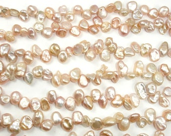Fresh Water Pearl Beads, Mauve, Top drilled, Keshi, Approx 4-8 mm, 15 Inch, Full strand, Approx 75-85 beads, Hole 0.4 mm (233110001)