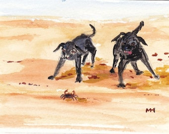 Original Painting Dogs at the Beach