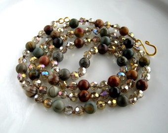 Long Handknotted Crystal and Picasso Jasper Necklace (32 inches)