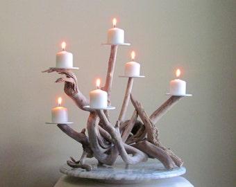 Driftwood Six Candles Candelabra, Wedding Centerpiece, Table Decor, Driftwood Candelabra, Beach Decor, Driftwood Art, Driftwood Rustic Decor