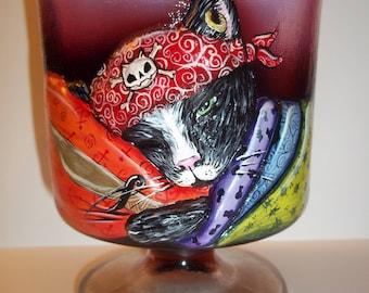 Fenton Glass OOAK Plum Opalescent Halloween Pirate Chessie Cat Box Sunday Davis