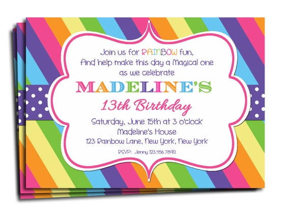 Rainbow Invitation Printable or Printed with FREE SHIPPING