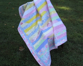 """Jelly Roll Quilt """"Pastels"""" 53.5 x 57.5"""" Small Quilted Blanket,Wheelchair Quilt,Sofa Throw,Children's Quilt,Patchwork Quilt, Quiltsy Handmade"""