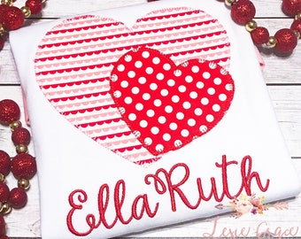 Valentines Day shirt for girls, Applique Shirt or Bodysuit, gingham, Embroidered, Personalized