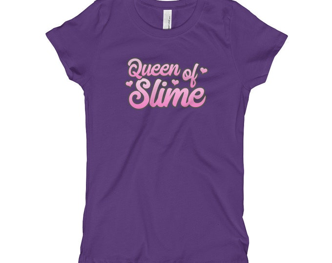Queen of Slime T-shirt, Girl's Tee, Hearts, Kids