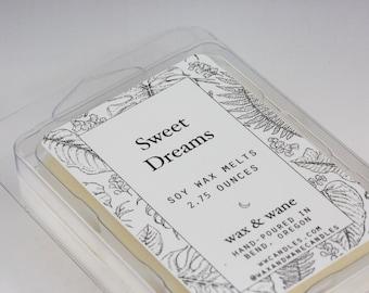 Lavender Sweet Dreams Scented Soy Wax Tart - Wax Melts -  Lavender Scented Wax Cubes - Clamshell - Soy Candle Melts - Natural Soy Wax Tarts