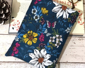 Medium Floral Book Cover, Paperback Book Bag, Book Lover Gift, Bookish Accessories, Padded Book Pouch, Bright Botanical Book Buddy