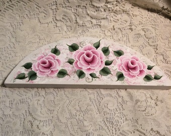 Shabby Cottage Chic Hand Painted Pink Rose Wooden Arch Over The Door / Picture Crown