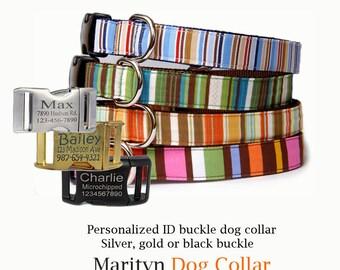 Dog collar w/ personalized ID buckle Engraved buckle pet collar Stripe dog collar Cute pink orange girl dog collar Blue green boy dog collar