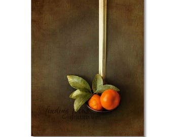 Satsuma Photo, Orange Tangerine Fruit Kitchen Print, Mandarin in Ladle Still Life, Rustic Home, Restaurant Farmhouse Art, Modern Photography