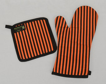 Halloween Housewares Orange and Black Stripe Oven Mitt and Pot Holder, Sets or Singles
