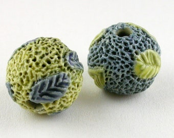 yellow blue Beads, Spring Leaves, leafy Beads, ceramic beads, stoneware beads, big holes, Leaf beads, artist beads, bead set, pair of beads