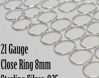 Sterling Silver 20.5 Gauge, 8mm Closed Ring, 20 Pieces