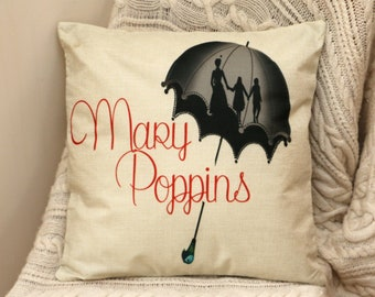mary poppins silhouette umbrella  inspired cushion cover 45 by 45 cm  gift