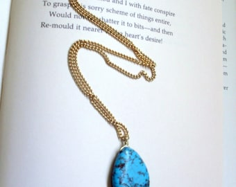 Bright Turquoise and Gold Teardrop Necklace