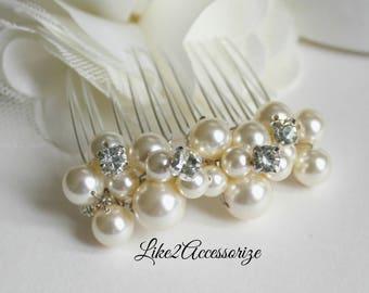 Ivory White Gold Pearl Hair Comb Bridal Headpiece Wedding Hair Accessories Swarovski Pearl Comb Bridal Hair Fascinator Bridal Wedding Comb