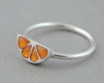 Tiny orange ring, sterling silver orange ring, minimal ring, Enamel jewelry, Small ring, midi ring, Fruit jewelry