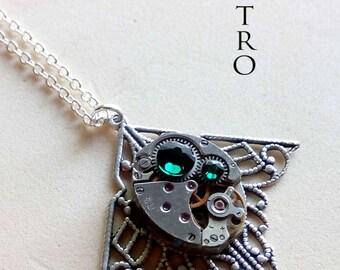 Mackintosh art deco steampunk green necklace - steampunk jewelry - Necklace by steamretro-steampunk - steampunk necklace