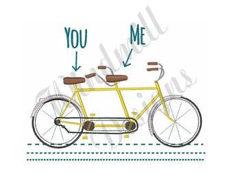 Two Person Bicycle - Machine Embroidery Design