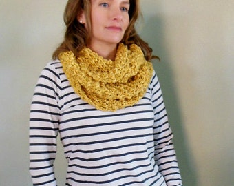 Gold Mustard Goldenrod Infinity Scarf Hand Knit Circle Loop Fashion Scarf