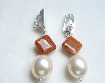 Clip Earrings silver , agate , pearl