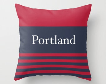 Custom City Pillow Cover, Portland Pillow Cover, Hostess Gift, New England Pillow, Nautical Pillow, Red and Blue Pillow, Stripes Pillow _M