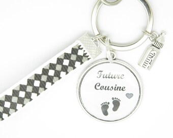 Customizable Keychain future cousin or cousin pregnancy announcement