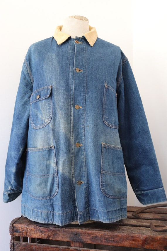 "Vintage Sears Fieldmaster indigo blue blanket lined denim jacket 56"" chest workwear corduroy collar western cowboy Union Made sun faded XXL"