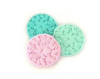 Face Scrubbies Crochet Scrubbies Cotton Face Scrubby Makeup Removers Crochet Scrubby Set of 3 Scrubbies Mini Washcloths
