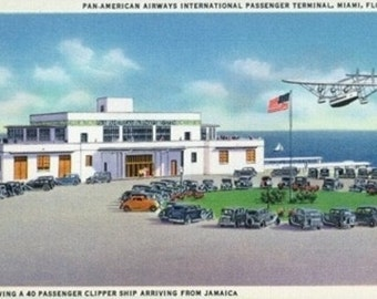 Miami, Florida - Pan-American Airways Terminal, Clipper Arriving from Jamaica (Art Prints available in multiple sizes)
