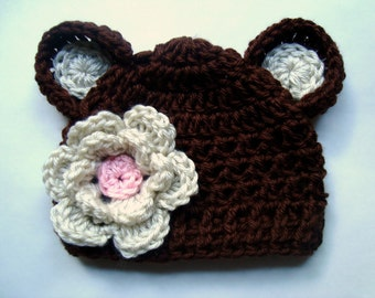 Toddler hat, Crochet toddler hat with Ears and Flower, Chocolate Brown, Oatmeal, Pink-MADE TO ORDER