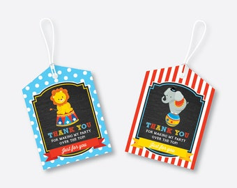 Instant Download, Circus Favor Tags, Circus Birthday Tags, Circus Thank You Tags, Gift Tags, Circus Party Printable, Boy, Chalkboard(CKB.89)