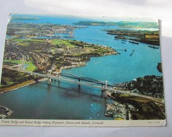 vintage postcard tamar bridge and brunnel bridge linking plymouth devon with saltash cornwall 1977