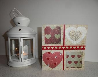 Card 1 with 4 squares purist, simplistic Valentine...