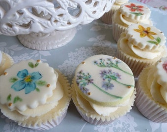 Floral Cupcake Toppers Hand-painted x 6
