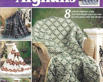 "Annie's Attic ""Dynamic Decor Afghans"" Crochet Pattern Leaflet Number 873251 Afghan Blankets"