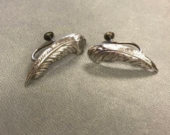 Vintage Sterling Silver Clip-on Feather Earrings