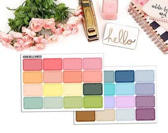 Solid half boxes planner stickers