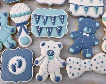 Baby Shower Cookies - Baby Boy, Teddy Bear Cookie Set