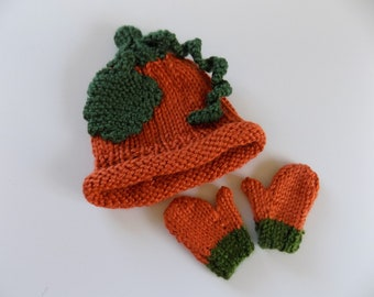 Doll Pumpkin Hat and Mittens, 18 Inch Doll Hat, Doll Mittens, Doll Gloves, Fall Outfit, Halloween Costume